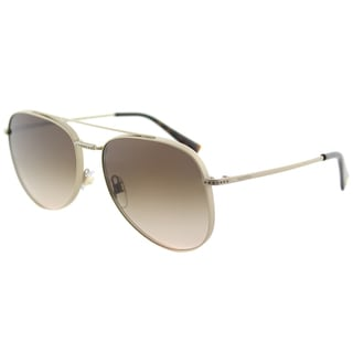 Valentino VA 2007B 301613 Light Gold Sandblast Matte Metal Aviator Sunglasses Brown Gradient Lens