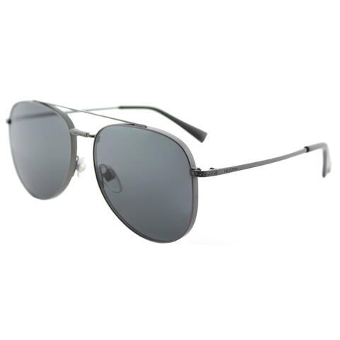 Valentino VA 2007B 301787 Matte Gunmetal Sandblast Metal Aviator Sunglasses Smoke Lens