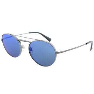 Valentino VA 2004B 301755 Matte Sandblast Gunmetal Metal Oval Sunglasses Blue Mirror Lens