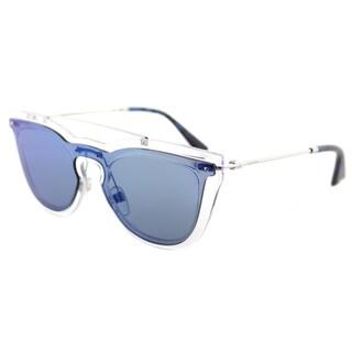 Valentino VA 4008 502455 Transparent Plastic Cat-Eye Sunglasses Blue Mirror Lens