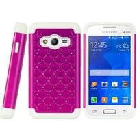 Insten Hard PC/ Silicone Dual Layer Hybrid Rubberized Matte Case Cover with Diamond For Samsung Galaxy Ace 4 LTE