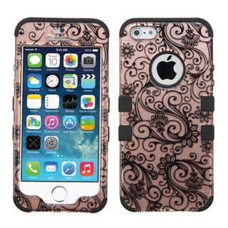 Insten Rose Gold/ Black Four-leaf Clover Tuff Hard PC/ Silicone Dual Layer Hybrid Case Cover For Apple iPhone 5/ 5S/ SE