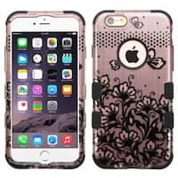 Insten Black Lace Flowers Tuff Hard PC/ Silicone Dual Layer Hybrid Rubberized Matte Case Cover For Apple iPhone 6 Plus/ 6s Plus