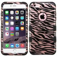 Insten Rose Gold/ Black Zebra Tuff Hard PC/ Silicone Dual Layer Hybrid Case Cover For Apple iPhone 6 Plus/ 6s Plus