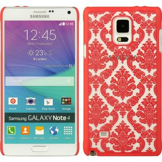 Insten Hot Pink Lace Hard Snap-on Rubberized Matte Case Cover For Samsung Galaxy Note 4