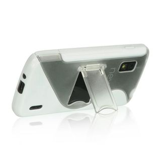Insten Clear/ White S Shape Hard Snap-on Case Cover with Stand For LG Google Nexus 4 E960