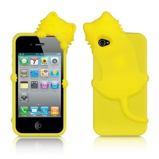Insten Yellow 3D Cat Silicone Skin Gel Rubber Case Cover For Apple iPhone 4/ 4S