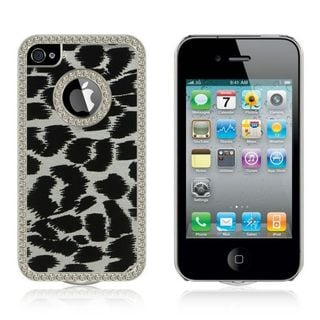 Insten Silver Leopard Hard Snap-on Rubberized Matte Case Cover with Diamond For Apple iPhone 4/ 4S