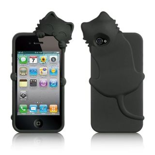 Insten Black Cat Silicone Skin Gel Rubber Case Cover with Diamond For Apple iPhone 4/ 4S