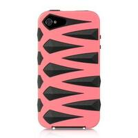 Insten Hot Pink/ Black Hard PC/ Silicone Dual Layer Hybrid Rubberized Matte Case Cover For Apple iPhone 4/ 4S