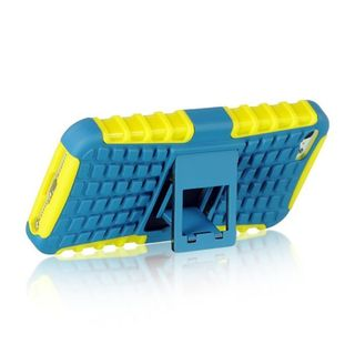 Insten Blue/ Yellow Hard Snap-on Dual Layer Hybrid Case Cover with Stand/ Holster For Apple iPhone 5/ 5S