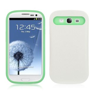 Insten White/ Green Hard Snap-on Dual Layer Hybrid Case Cover For Samsung Galaxy S3 I747