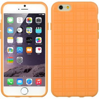 Insten Orange Lattice TPU Rubber Candy Skin Case Cover For Apple iPhone 6/ 6s