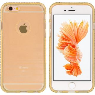 Insten Gold TPU Rubber Candy Skin Case Cover with Diamond For Apple iPhone 6/ 6s