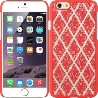 Insten Red/ White Lace Hard Snap-on Rubberized Matte Case Cover For Apple iPhone 6
