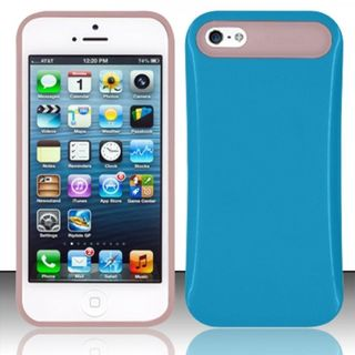 Insten Blue/ Pink TPU Rubber Candy Skin Silicone Case Cover For Apple iPhone 5/ 5S/ SE