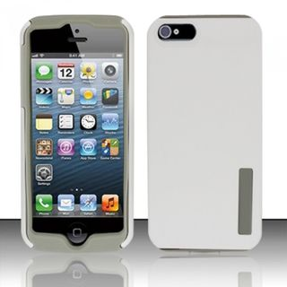 Insten White/ Grey Fusion Hard PC/ Silicone Dual Layer Hybrid Rubberized Matte Case Cover For Apple iPhone 5/ 5S/ SE