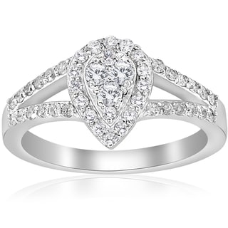 10K White Gold 1/2 ct Dimond Pear Shape Framed Halo Split Shank Engagement Ring (I-J,I2-I3)