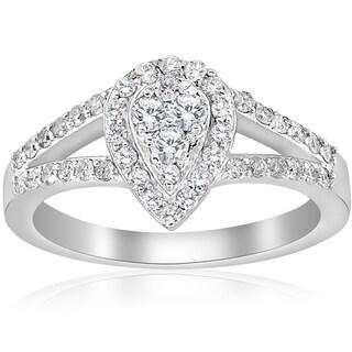 10K White Gold 1/2 ct Dimond Pear Shape Framed Halo Split Shank Engagement Ring (I-J,I2-I3)