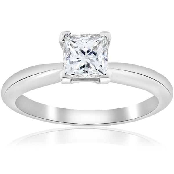 a08206e85c5be Shop Platinum 1 ct TDW Princess Cut Diamond GIA Certified Solitaire ...