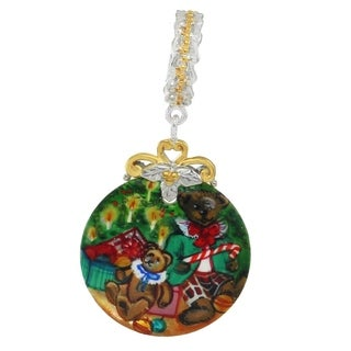 "Michael Valitutti Palladium Silver Hand-Painted Mother of Pearl ""Gifts Under the Tree"" Drop Charm"