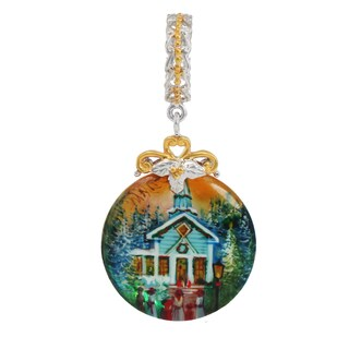 """Michael Valitutti Palladium Silver Hand-Painted Mother of Pearl """"Church"""" Drop Charm"""