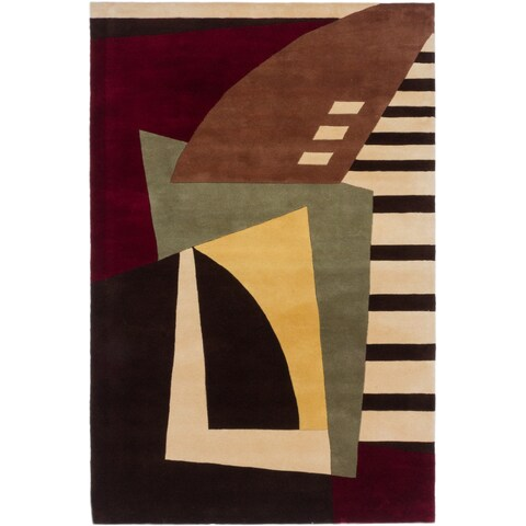 ecarpetgallery Handmade Pierrot Brown, Red Wool Rug - 5'3 x 8'0