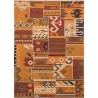 ecarpetgallery Hand Woven Moldovia Patch Orange, Red Wool Kilim Rug - 5'7 x 7'11