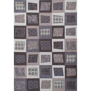 ecarpetgallery Handmade Enchanted Grey, Ivory  Viscose Rug (5'2 x 7'7)