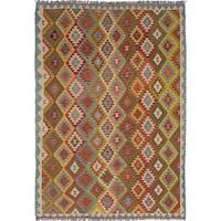 ecarpetgallery Hand Woven Anatolian Brown  Wool Kilim (6'5 x 9'1)
