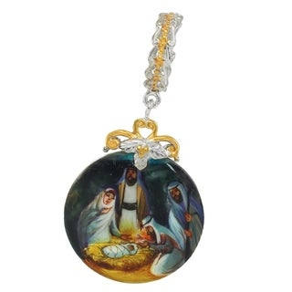 "Michael Valitutti Palladium Silver Hand-Painted Mother of Pearl ""Nativity"" Drop Charm"