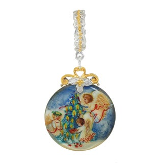 """Michael Valitutti Palladium Silver Hand-Painted Mother of Pearl """"Christmas Tree"""" Drop Charm"""