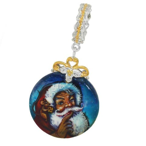 "Michael Valitutti Palladium Silver Hand-Painted Mother of Pearl ""Jolly Santa"" Drop Charm"