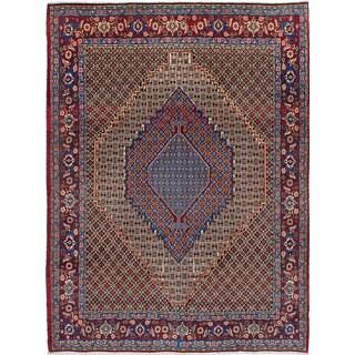 eCarpetGallery Senneh Blue Wool Hand-knotted Rug (7'0 x 9'4)