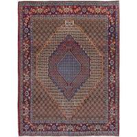 eCarpetGallery Senneh Blue Wool Hand-knotted Rug - 7'0 x 9'4