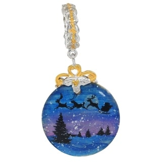 "Michael Valitutti Palladium Silver Hand-Painted Mother of Pearl ""Night Before Christmas"" Drop Charm"