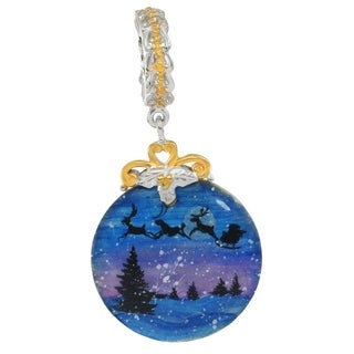 """Michael Valitutti Palladium Silver Hand-Painted Mother of Pearl """"Night Before Christmas"""" Drop Charm"""