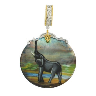 """Michael Valitutti Palladium Silver Hand-Painted Mother of Pearl """"Elephant"""" Drop Charm"""
