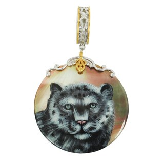 """Michael Valitutti Palladium Silver Hand-Painted Mother of Pearl """"Snow Leopard"""" Drop Charm"""
