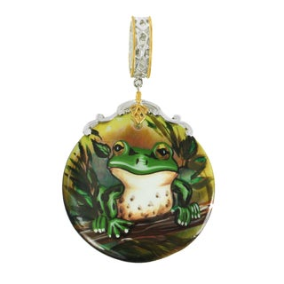 """Michael Valitutti Palladium Silver Hand-Painted Mother of Pearl """"Frog"""" Drop Charm"""