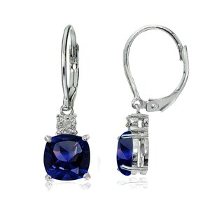 Glitzy Rocks Sterling Silver Created Blue Sapphire and Diamond Accent Cushion-cut Dangling Leverback Earrings