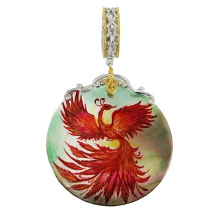 "Michael Valitutti Palladium Silver Hand-Painted Mother of Pearl ""Phoenix"" Drop Charm"