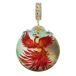 """Michael Valitutti Palladium Silver Hand-Painted Mother of Pearl """"Phoenix"""" Drop Charm"""