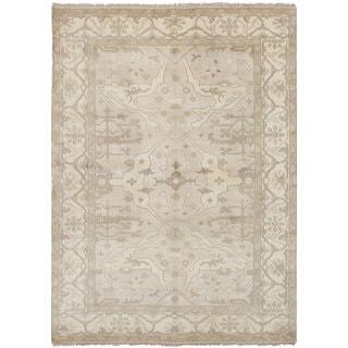 ecarpetgallery Hand Knotted Royal Ushak Brown  Wool Rug (6'3 x 9'0)