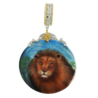 """Michael Valitutti Palladium Silver Hand-Painted Mother of Pearl """"Lion"""" Drop Charm"""