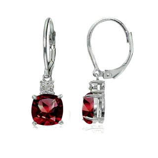 Glitzy Rocks Sterling Silver Created Ruby and Diamond Accent Cushion-cut Dangling Leverback Earrings