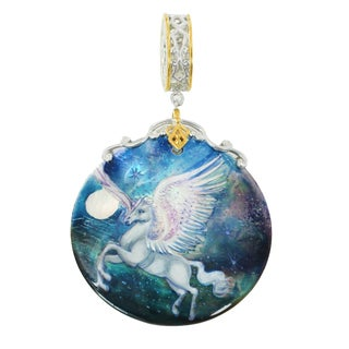 "Michael Valitutti Palladium Silver Hand-Painted Mother of Pearl ""Pegasus"" Drop Charm"