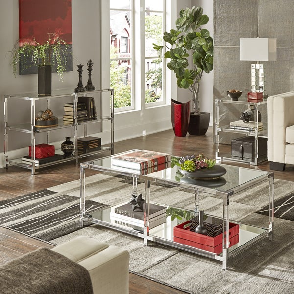 Shop Cyrus Clear Chrome Corner Mirrored Shelf Accent Tables By Inspire Q Bold Free Shipping