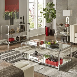 Cyrus Clear Chrome Corner Mirrored Shelf Accent Tables by iNSPIRE Q Bold