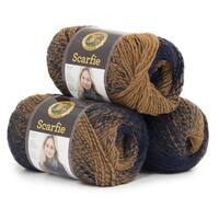 Lion Brand Yarn Scarfie 826-203 Ochre Navy 3 Pack Bulky Yarn